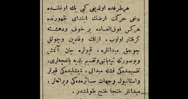 1894 İstanbul depreminden bir haber