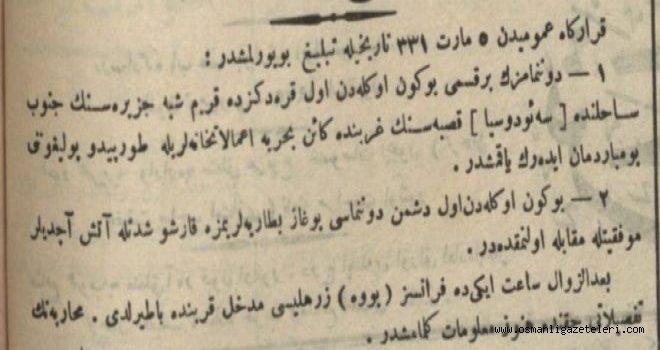 Cephelerden haberler (18 Mart 1915)