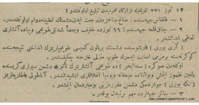 Cephelerden Haberler (31 Temmuz 1915)
