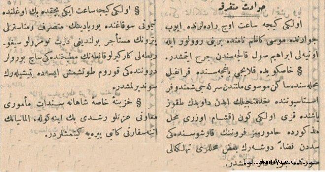 Çeşitli Haberler (16 Haziran 1900)