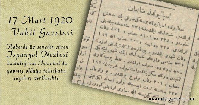 İspanyol'dan Zâyiʻât (İspanyol Nezlesi Zayiatı) 1920