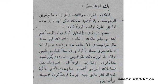 Osmanlı Gazetesinde sizden gelenler köşelerine benzer bir kısım