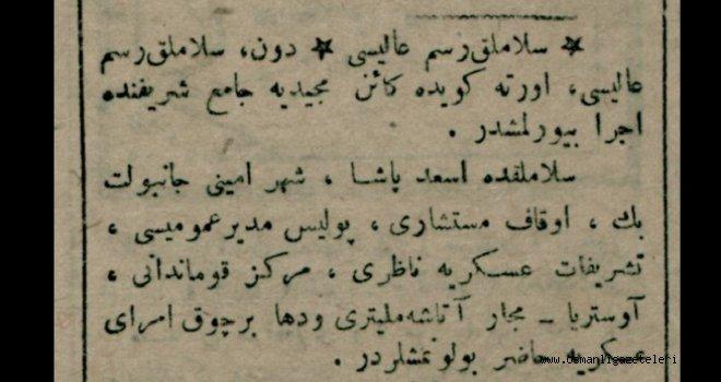 Selamlık Resm-i Alisi (Merasimi) 8 Nisan 1916