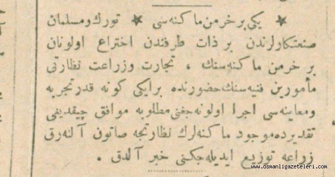 Türk mücit tarafından yeni harman makinesi üretildi (1915)