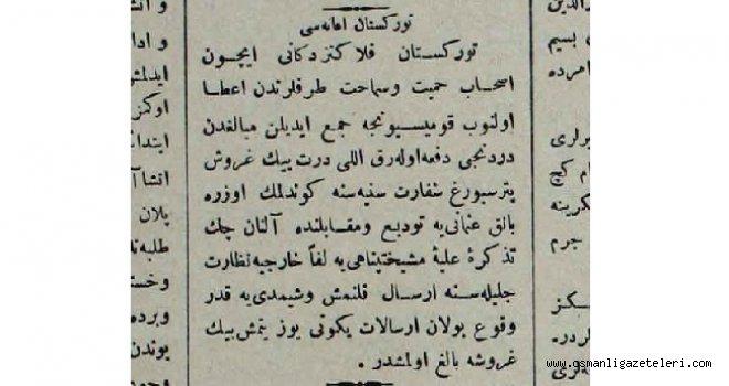 Türkistan'a yardım gönderildi  (12 Temmuz 1911)